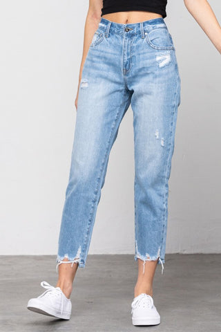 Medium Wash Raw Edge Mom Jeans