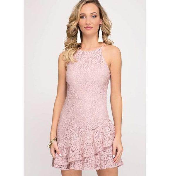 Pink Lace Ruffle Hem Halter Dress**