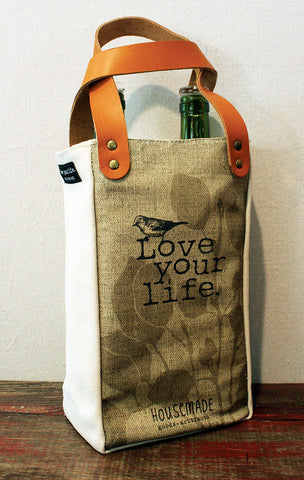 Housemade Love your life Double Wine Tote
