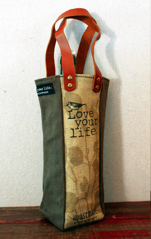 Housemade Love your life Single Wine Tote