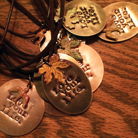 Housemade Love your life hand-stamped necklaces