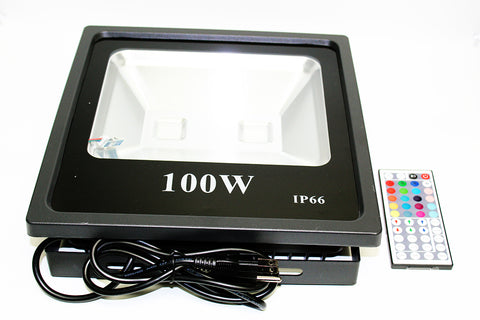 NovaBright RGB-100W-FL Color Changing RGB Flood Light 100W IP65 with IR 44 Key Remote