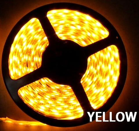12V LED Strip Lights ~ 12V Single Color Light Strips ~ 3528SMD Single Color ~ 3528 Single Color LED Kit - 3528SMD NovaBright Yellow Super Bright Flexible LED Light  Strip 16 Feet Reel Kit