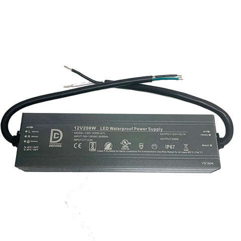 DCDrivers 200W-UL12V-DC 12V DC 200W UL LED Power Supply Driver IP67 CE RoHS 16.7A