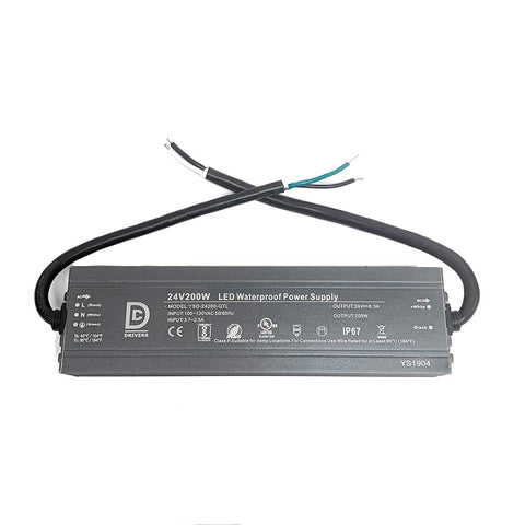 DCDrivers 200W-UL24V-DC 24V DC 200W UL LED Power Supply Driver IP67 CE RoHS 8.3A