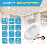 6 Inch Smooth Trim Downlights 15W