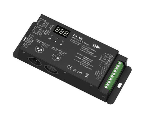 NovaBright D4-XE  4 Channel 32A Flicker Free DMX LED Decoder for 12-24VDC LED Lights  2000HZ PWM