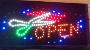 LED Signs - Animated Hair Cut Open Sign 19x10 Inches QC-991