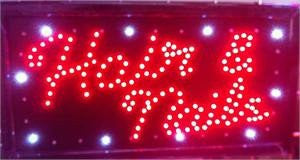 LED Signs - Hair & Nails LED Business Sign 19x10 Inches QC-994