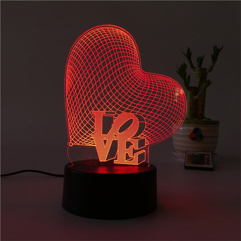 3D Love Heart Shape Lamp Multicolor LED Lights Touch USB Remote Control Night Light Table Lamp for Couple Romantic Night Valentine's Day Mother's Day Gift