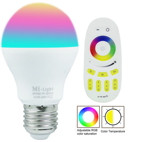E27 6W Milight RGBW RGBWW LED bulb with 2.4G 4-Zone wireless led RF remote controller dimmable LED light home decoration