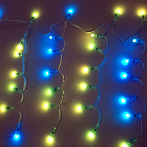 7nodes*10drops individually LED full color Icicles string;DC12V WS2811 controlled;all white wire;IP68;70nodes/set