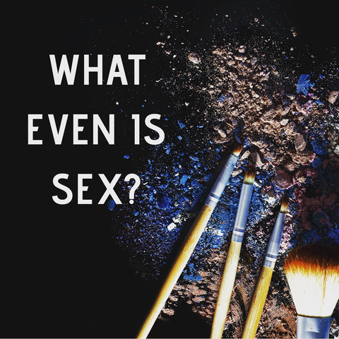 close-up of make-up and make-up brushes with text that reads what even is sex?