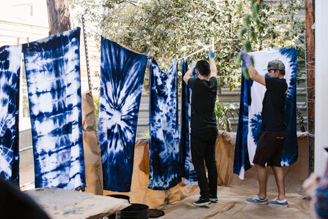 Slowtide towel indigo dyed towels