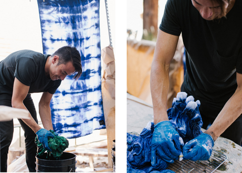 Slowtide towel indigo dyeing  workshop
