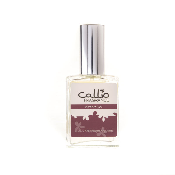 Amelia Perfume - Callio Fragrance one ounce glass bottle with silver cap