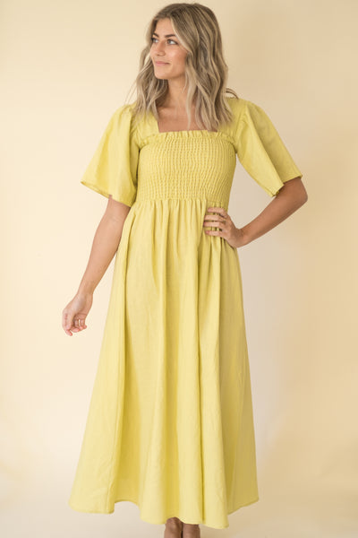 Juliette Tuscany Chartreuse Midi Dress