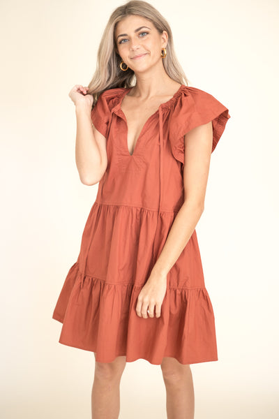 Fallyn Mocha Boho Tiered Midi Dress