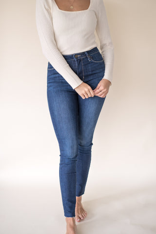 Marcella Raw Hem Skinny Denim (Dark Wash)
