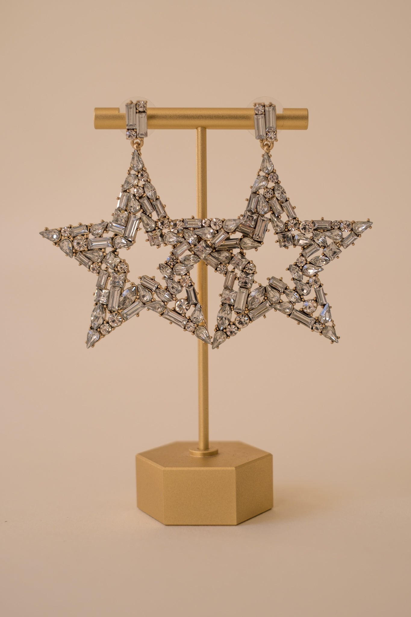Glitzy Rhinestone Star Earrings