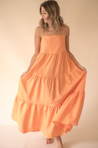 Rosalie Tangerine Tiered Maxi Dress (M)