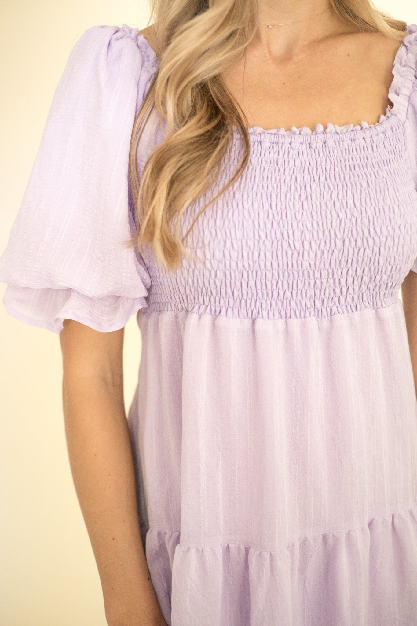Orsel Lavender Jacquard Print Notched Top