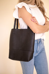 Pebbled Faux Leather Tote Bag (Two Colors)
