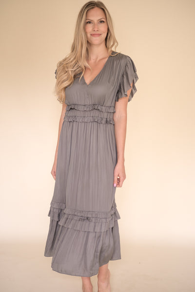 Vanessa Ruffle Peplum Midi Dress (Charcoal)