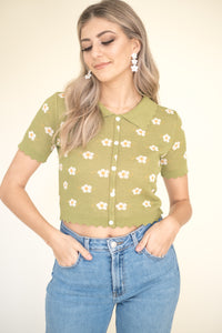 Knit Flower Tote (Black)