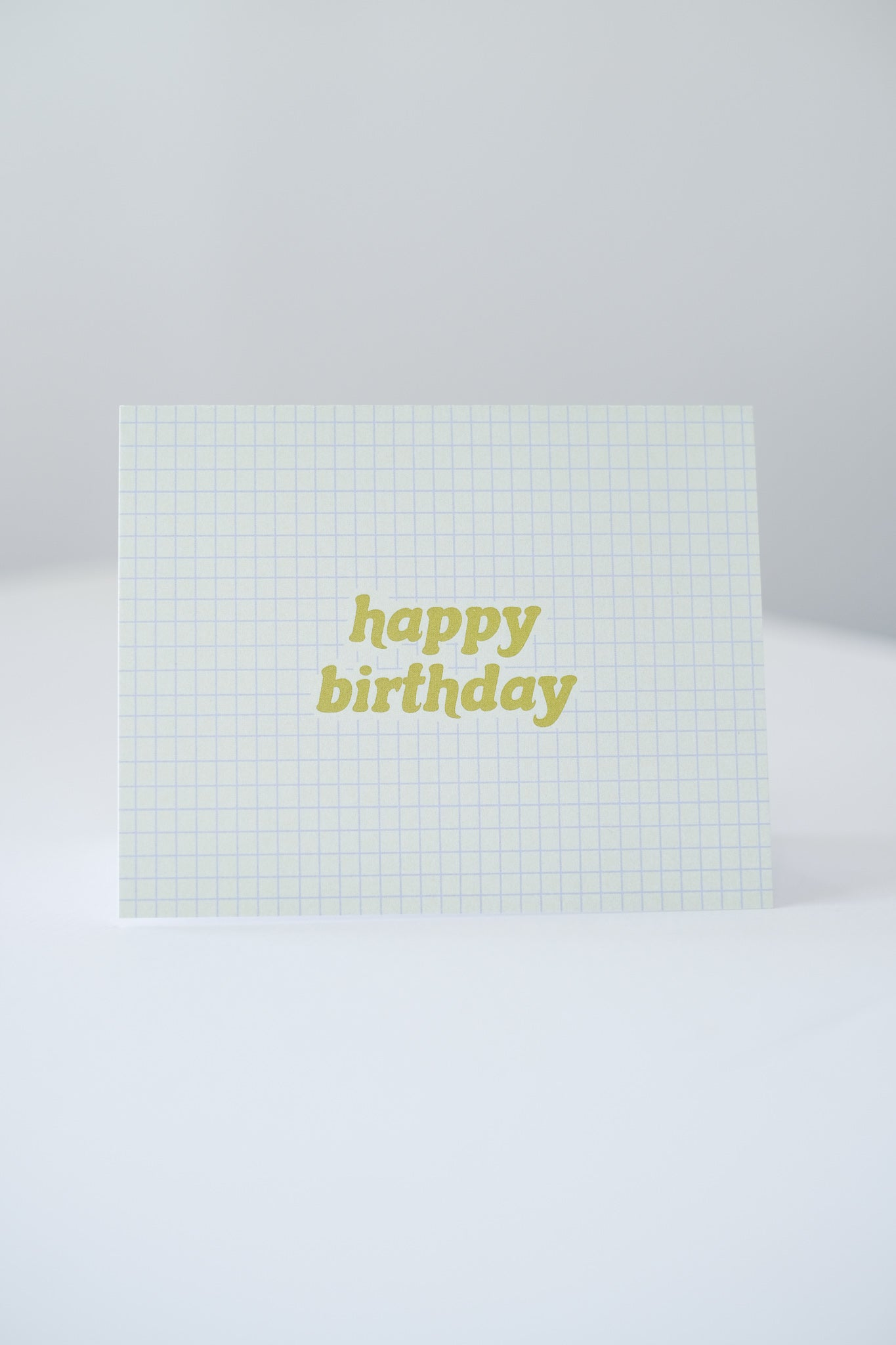 """Happy Birthday"" Green Grid Blank Card"