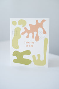 """Thinking of You"" Abstract Shapes Blank Card"