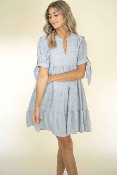 Charlie Stripe Stitched Mini Dress (Lilac)