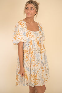 Danni Muted Palm Print Babydoll Dress