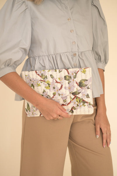 Medium Tropical Floral Envelope Clutch