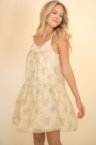 Ellen Floral Sleeveless Tiered Mini Dress