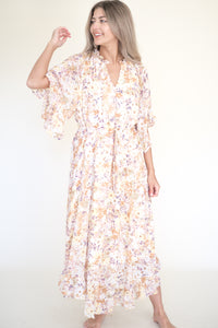 Elsa Cotton Blend Smocked Dress (Lemon/Beige)