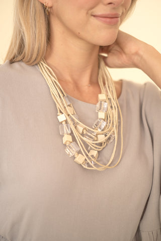 Layered Rope Necklace with Clear Beads