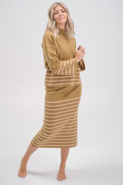 Ester Back Slit Striped Midi Sweater Skirt