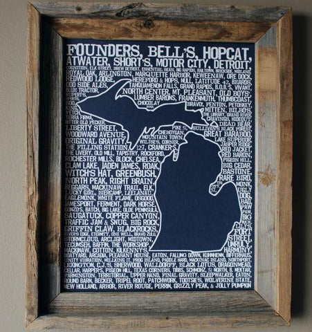 Breweries of Michigan Map Print