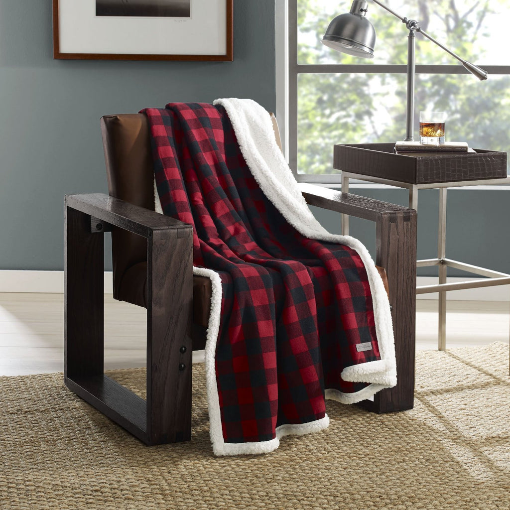 Eddie Bauer 216689 Cabin Plaid Flannel Sherpa Throw,Red