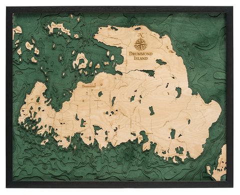 Drummond Island Wood Map Art