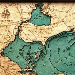Lake Erie Wood Map Art