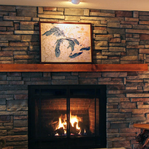 Great Lakes Wood Map Art - Above Fireplace