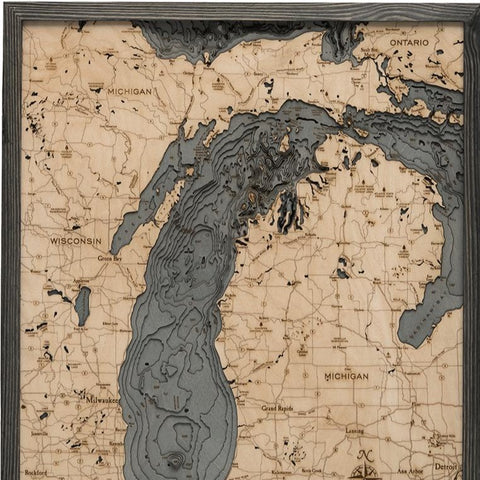 Lake Michigan Wood Map Art