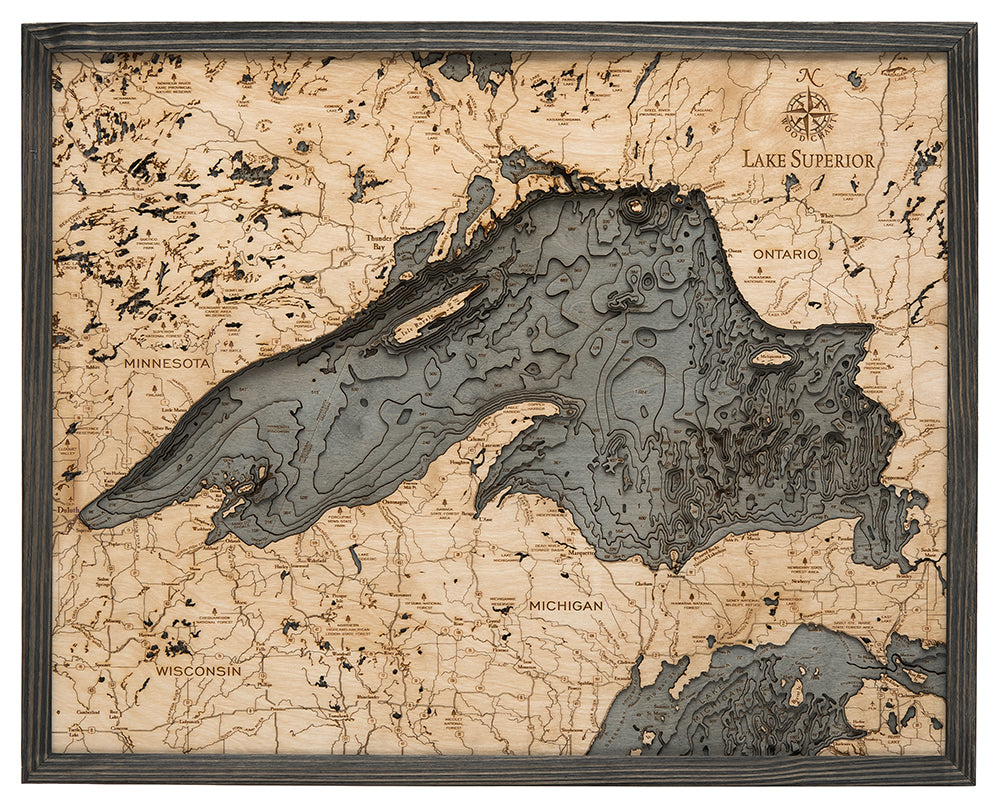 Lake Superior Wood Map Art