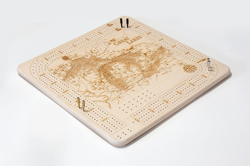 Great Lakes Cribbage Board - Front
