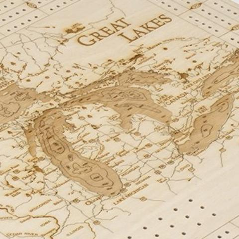 Great Lakes Cribbage Board - Close up