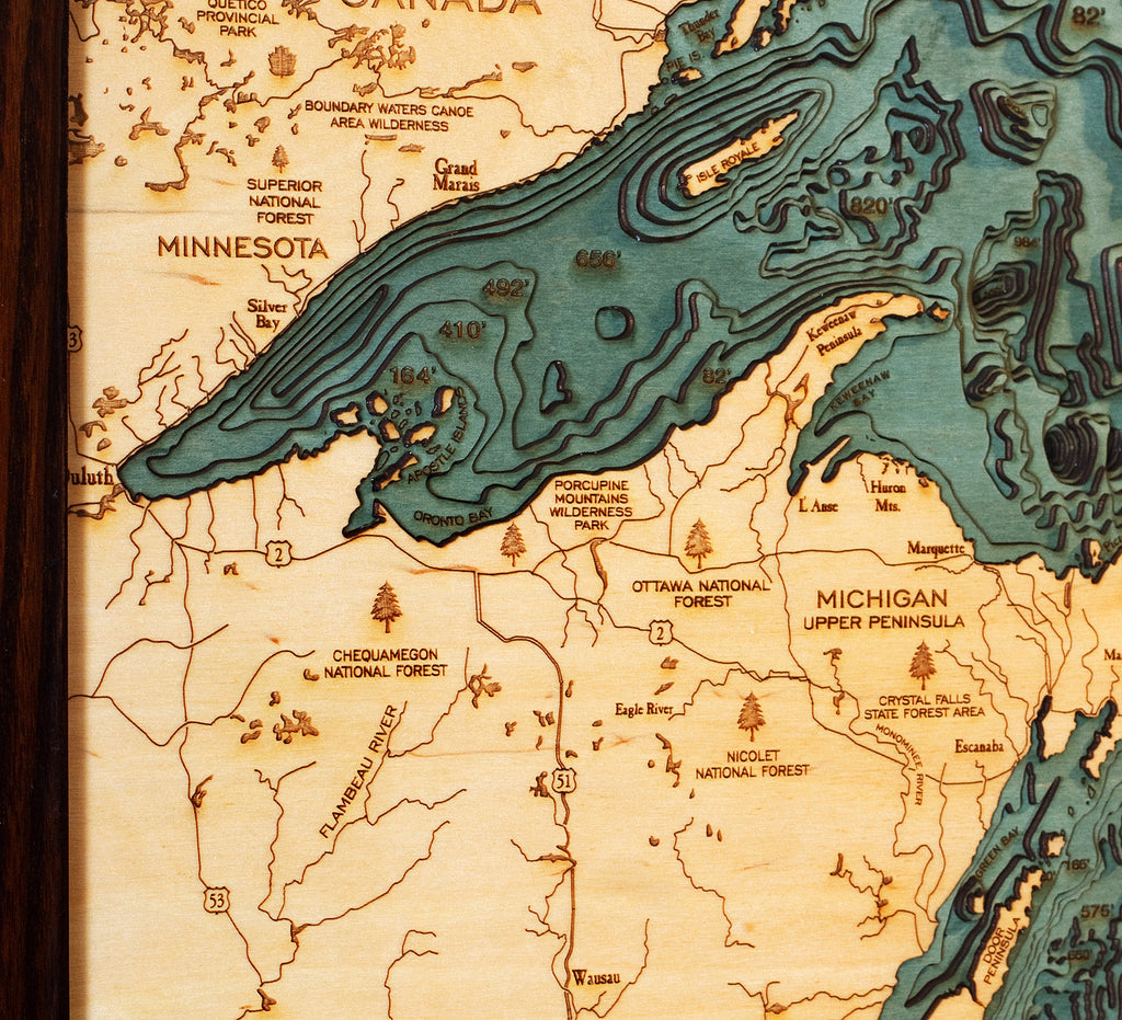Great Lakes Wood Map Art | Great Lakes Picture | Michigan Studio