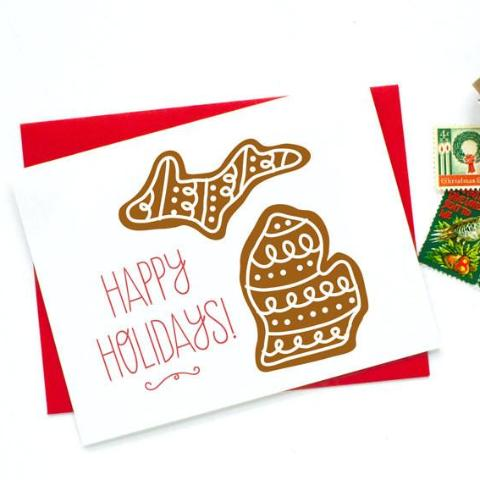 Michigan Happy Holidays Gingerbread Card