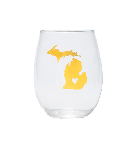Michigan Gold Stemless Wine Glass
